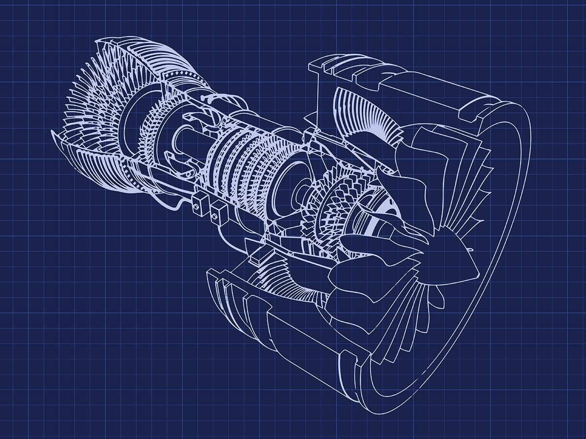 Blueprint turbofan engine